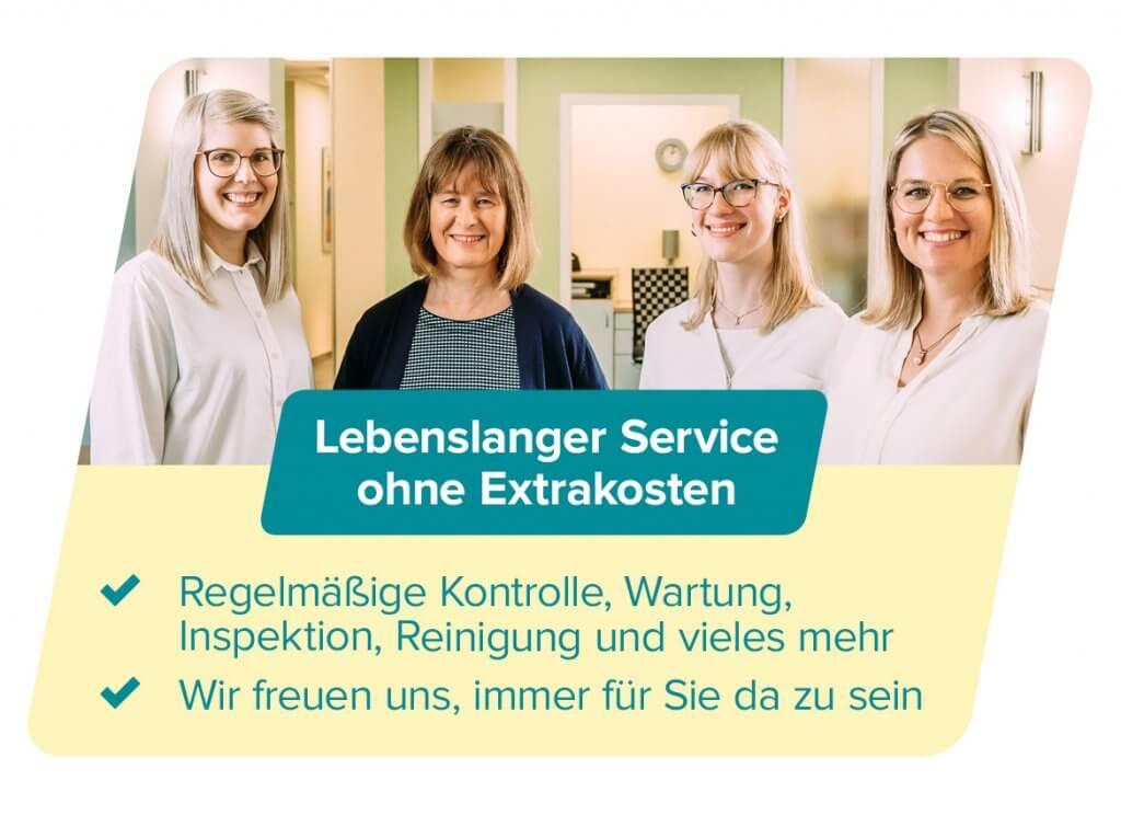Lebenslanger Service ohne Extrakosten